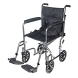 Drive Medical Lightweight Steel Transport Wheelchair Fixed Full Arms 19 Seat (TR39E-SV)