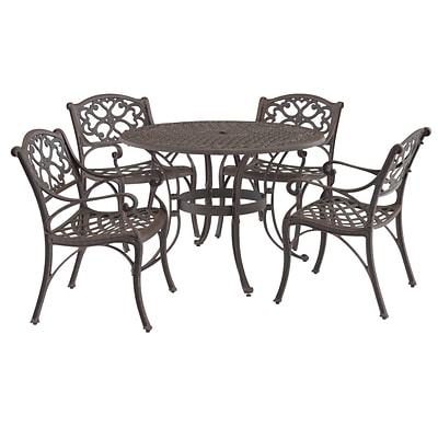 Home Styles 42 Aluminum & Bronze Round Outdoor Dining Set with Arm Chairs