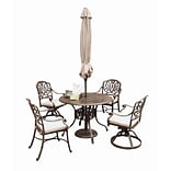 Home Styles 29 Cast aluminum Floral Blossom Taupe 5-Piece Dining Set with Umbrella