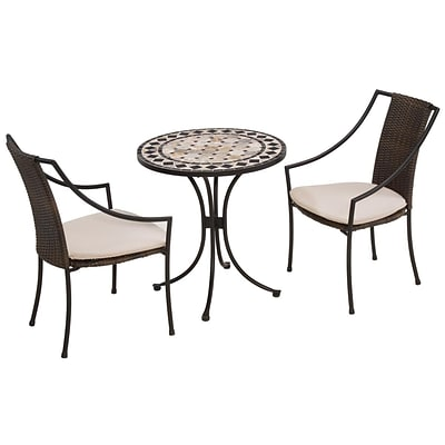 Home Styles 29H Marble Steel Tile Top Bistro Set