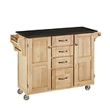 Home Styles 35.5 Natural Asian Hardwood Cabinet Kitchen Cart