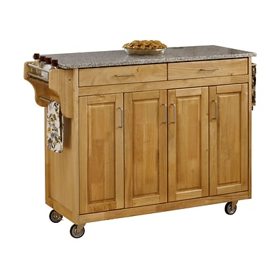 Home Styles 34.75 Wood Cabinet Kitchen Cart