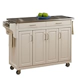 Home Styles Stainless Steel; Wood Stainless Top