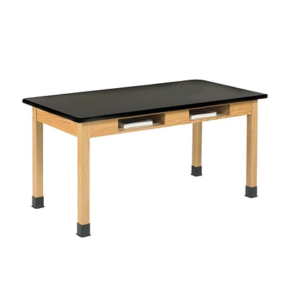 DWI Lab Table 30H x 48W x 24D Laminate, Oak Wood Plastic Laminate Top