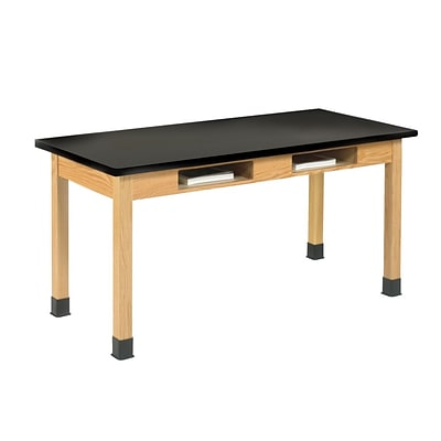 DWI Oak Table with Book Compartments 30H x 60W x 24D Wood