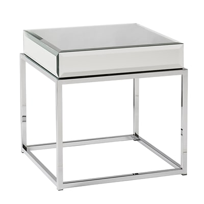 SEI Dana 21 Mirrored End Table; Chrome