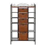 SEI Manilla 52 Metal 5-Drawer Bakers Rack, Black