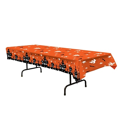 Beistle 54 x 108 Haunted House Tablecover; Orange, 2/Pack