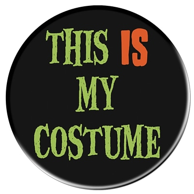 Beistle 3 1/2 My Costume Halloween Button; Black/Lime Green/Orange