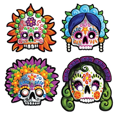 Beistle Day Of The Dead Masks; 12