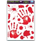 Beistle 12 x 17 Bloody Handprint Clings, 154/Pack