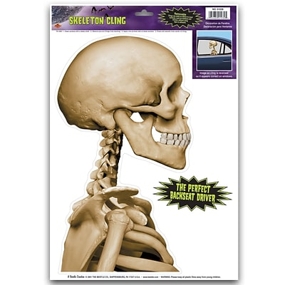 Beistle 12 x 17 Skeleton Backseat Driver Car Cling; 7/Pack