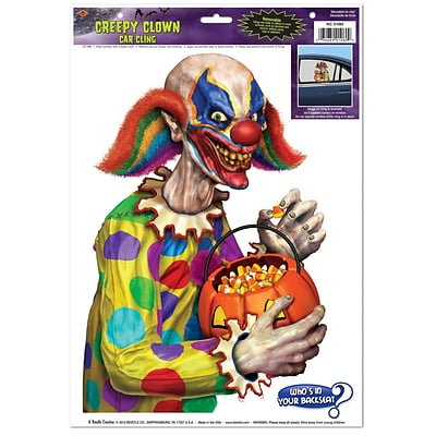 Beistle 12 x 17 Creepy Clown Backseat Driver Car Cling; 7/Pack
