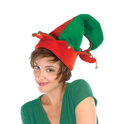 Beistle Felt Elf Hat With Bells, One Size, Red/Green