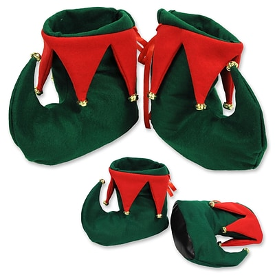 Beistle Fabric Elf Boots w Vinyl Sole, Green/Red