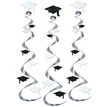 Beistle 30 Black/White Grad Cap Whirls