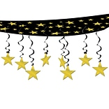 Beistle 12 x 12 Stars Are Out Ceiling Decor; Black/Gold, 2/Pack