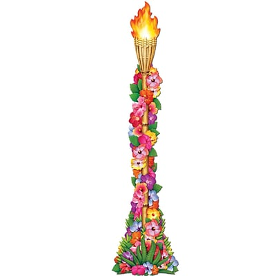 Beistle 4 Jointed Floral Tiki Torch; 3/Pack