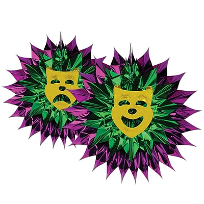 Beistle 15 Mardi Gras Fan Burst; Purple/Green/Gold, 3/Pack