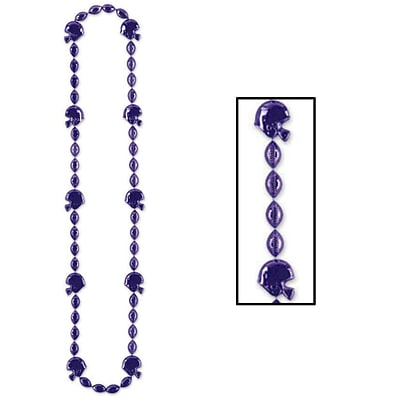 Beistle Football Beads Necklace; 36, Purple