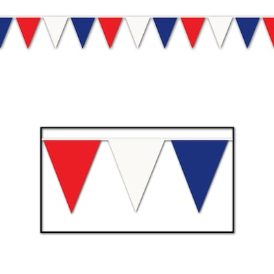 "Beistle 17""x30' RD/WH/BE Pennant Banner"