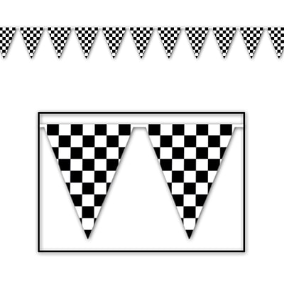 Beistle 17 x 30 Checkered Outdoor Pennant Banner; Black/White, 2/Pack