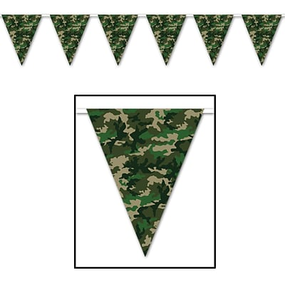 Beistle 10 x 12 Camo Flag Pennant Banner, 4/Pack