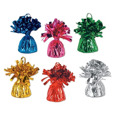 Beistle 6 oz. Metallic Wrapped Balloon Weights; Assorted, 12/Pack
