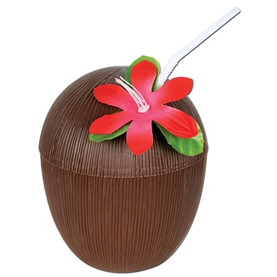 Beistle 16 oz. Coconut Cup; Brown, 4/Pack