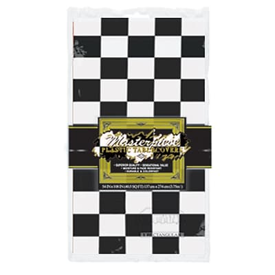Beistle 54 x 108 Checkered Tablecover; Black/White, 4/Pack