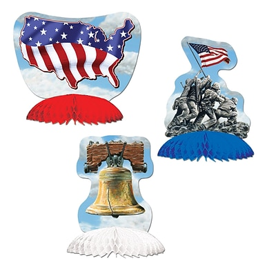 Beistle 5 1/2 Patriotic Playmates Centerpiece; Red/White/blue, 9/Pack