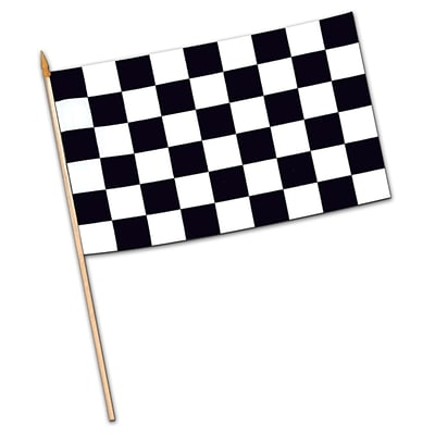 Beistle 11 x 18 Rayon Checkered Flag; Black/White, 6/Pack