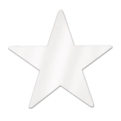 Beistle 20 Jumbo Foil Star Cutouts; White, 5/Pack