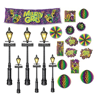 Beistle 8 - 46 Mardi Gras Decor and Street Light Props; 42/Pack