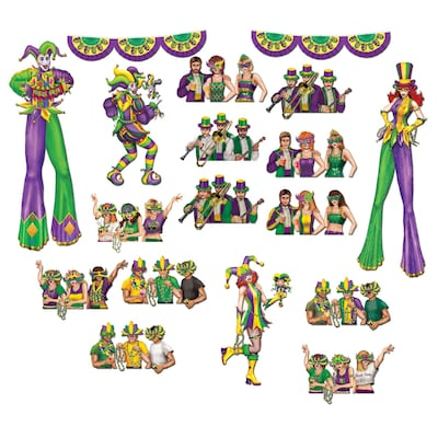 """Beistle 17""""-42"""" Mardi Gras Reveler Props"""