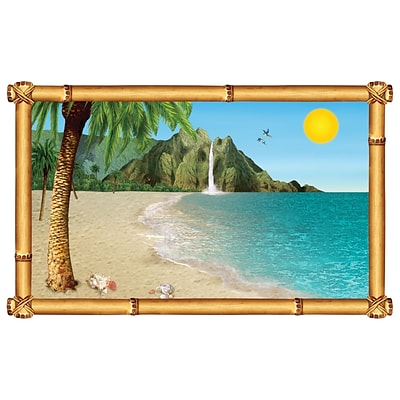 Beistle 3 2 x 5 2 Tropical Beach Backdrop; 2/Pack