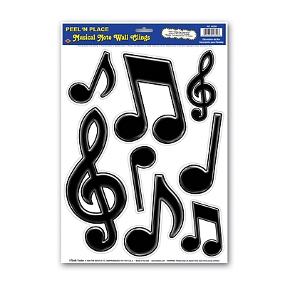 Beistle 12 x 17 Musical Notes Peel N Place Sticker; Black, 32/Pack