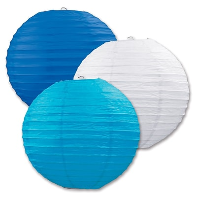 Beistle 9 1/2 Paper Lantern; Blue/White/Turquoise, 6/Pack