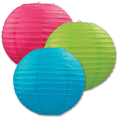 Beistle 9 1/2 Paper Lantern; Cerise/Light Green/Turquoise, 6/Pack