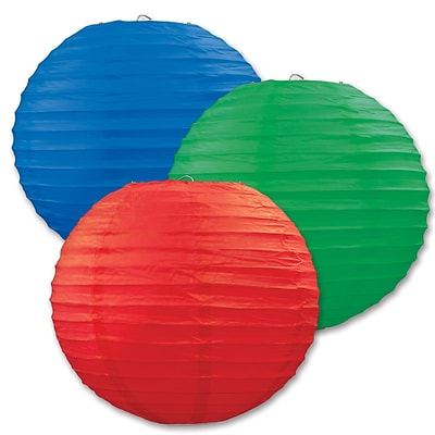 Beistle 9 1/2 Paper Lantern; Red/Blue/Green, 6/Pack
