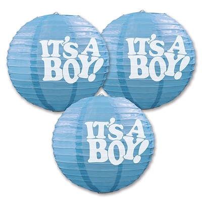 Beistle 9 1/2 Its A Boy Paper Lantern; Light Blue/White, 6/Pack