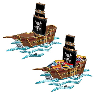 Beistle 18 1/2 x 26 Pirate Ship Centerpiece; 2/Pack