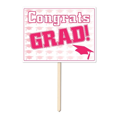 Beistle Pink Congrats Grad Yard Sign