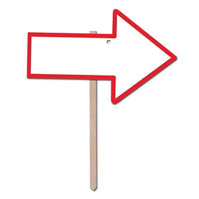 Beistle Blank Arrow Yard Sign With Red Border, White, 3/Pack (54909)