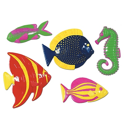 Beistle 11 1/2 - 13 3/4 Plastic Tropica Fish; Assorted, 10/Pack