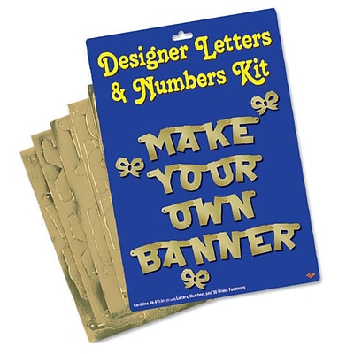 Beistle Designer Letters and Numbers Kit; 4 1/2, Gold