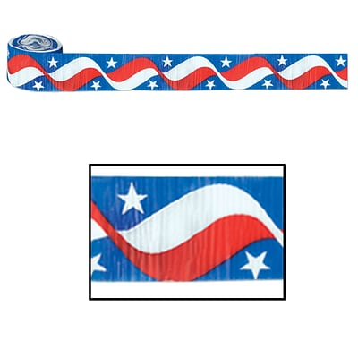 Beistle 2 1/2 x 30 Stars and Stripes Crepe Streamer; 5/Pack