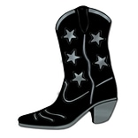 Beistle Black 16 Cowboy Boot Silhouette