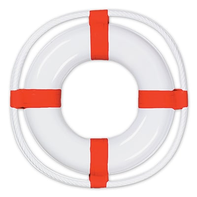 Beistle 23 Plastic Life Preserver; White/Red, 3/Pack