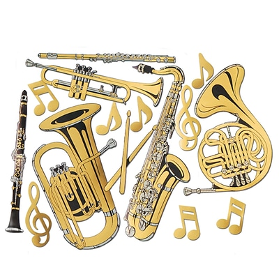Beistle 17 - 23 1/2 Musical Instrument Cutouts; Gold, 30/Pack